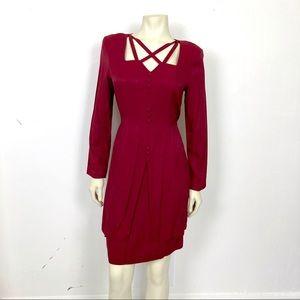 Vintage 90s tie back midi dress dark red maroon